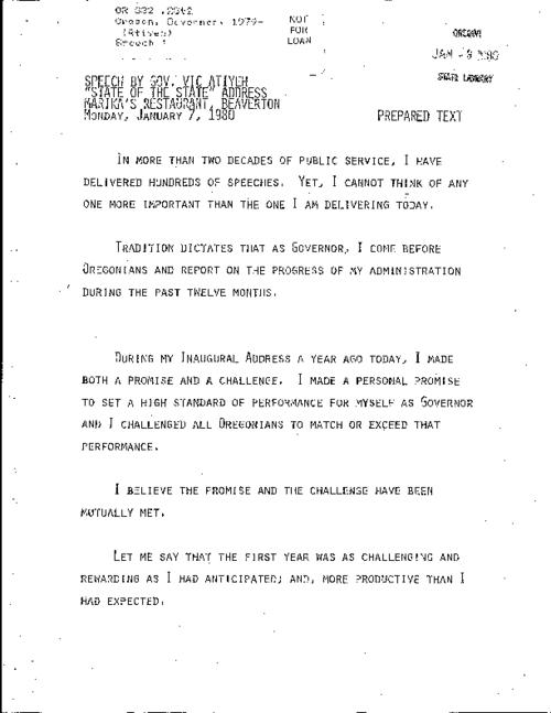 "This archived document is maintained by the Oregon State Library as part of the Oregon Documents Depository Program.  It is for informational purposes and may not be suitable for legal purposes., Title from caption, ""Marika's restaurant, Beaverton, Monday, January 7, 1980."", Mode of access: Internet from the Oregon Government Publications Collection., Text in English"