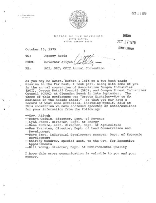 "This archived document is maintained by the Oregon State Library as part of the Oregon Documents Depository Program.  It is for informational purposes and may not be suitable for legal purposes., Includes ""speeches of notes/outlines"" by other state officials, Title from cover memo, Mode of access: Internet from the Oregon Government Publications Collection."