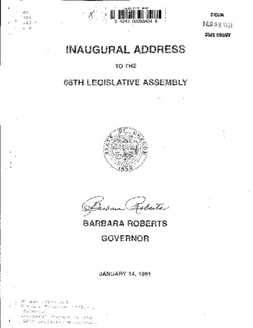 "This archived document is maintained by the Oregon State Library as part of the Oregon Documents Depository Program.  It is for informational purposes and may not be suitable for legal purposes., ""January 14, 1991."", Title from cover, Mode of access: Internet from the Oregon Government Publications Collection."