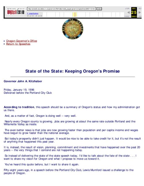"This archived document is maintained by the Oregon State Library as part of the Oregon Documents Depository Program.  It is for informational purposes and may not be suitable for legal purposes., Caption title, ""Friday, January 19, 1996, Delivered before the Portland City Club."", Mode of access: Internet from the Oregon Government Publications Collection., Text in English"