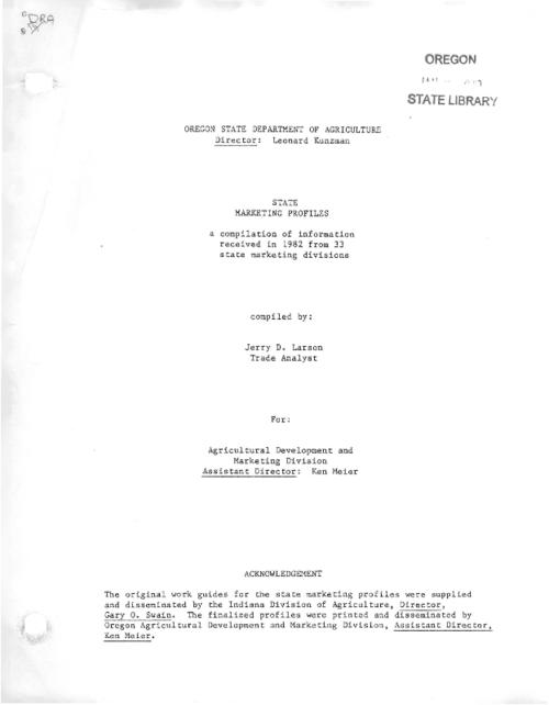 "This archived document is maintained by the Oregon State Library as part of the Oregon Documents Depository Program.  It is for informational purposes and may not be suitable for legal purposes., Title from cover., ""The original work guides for the state marketing profiles were supplied and disseminated by the Indiana Division of Agriculture, Director, Gary O. Swain.  The finalized profiles were printed and disseminated by Oregon Agricultural Development and Marketing Division, Assistant Director, Ken Meier""--Cover., Mode of access: Internet from the Oregon Government Publications Collection., Text in English."