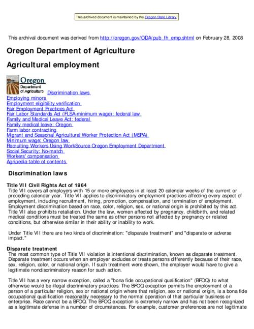 "This archived document is maintained by the Oregon State Library as part of the Oregon Documents Depository Program.  It is for informational purposes and may not be suitable for legal purposes., Title from Web page (viewed on Aug. 6, 2010), ""Last modified:2008-02-27""--File metadata, Mode of access: Internet from the Oregon Government Publications Collection."