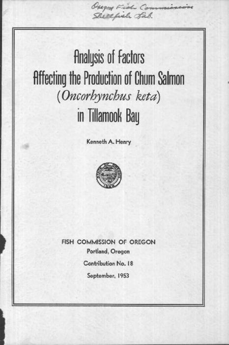 "Introduction -- Commercial fishery -- Life history and factors affecting production -- Determining a predictor of abundance -- Data needed -- Summary -- Acknowledgments -- Literature cited, This archived document is maintained by the Oregon State Library as part of the Oregon Documents Depository Program.  It is for informational purposes and may not be suitable for legal purposes., ""September, 1953."", Includes bibliographical references (p. 35-37), Mode of access: Internet from the Oregon Government Publications Collection."
