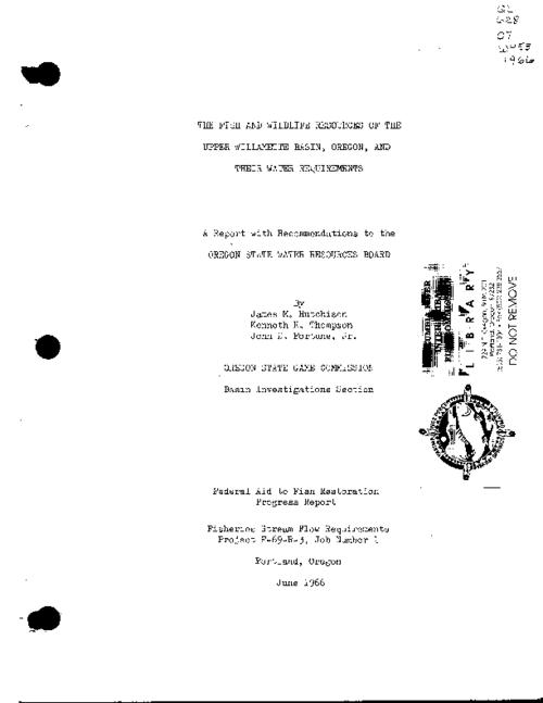 "This archived document is maintained by the Oregon State Library as part of the Oregon Documents Depository Program.  It is for informational purposes and may not be suitable for legal purposes., ""June 1966."", A report with recommendations to the Oregon State Water Resources Board, Mode of access: Internet from the Oregon Government Publications Collection."