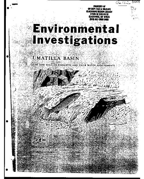 "This archived document is maintained by the Oregon State Library as part of the Oregon Documents Depository Program.  It is for informational purposes and may not be suitable for legal purposes., ""A report with recommendations to the Oregon State Water Resources Board from the Oregon State Game Commission."", ""February 1973."", Bibliography: p. 48, Mode of access: Internet from the Oregon Government Publications Collection."
