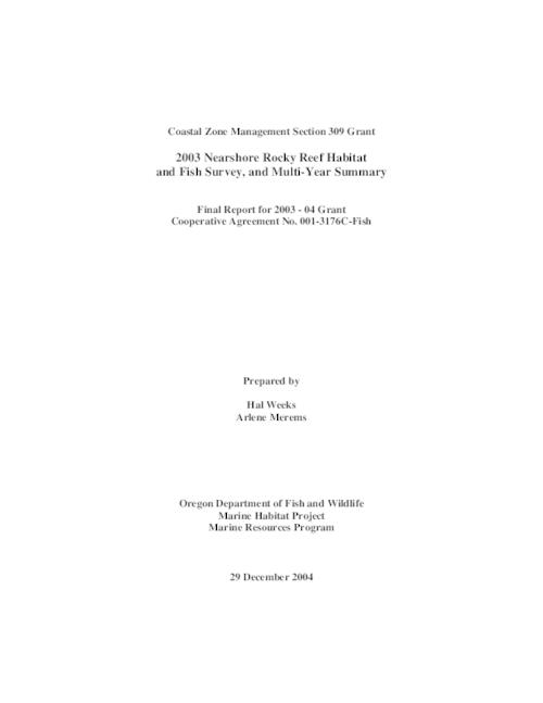 "This archived document is maintained by the Oregon State Library as part of the Oregon Documents Depository Program.  It is for informational purposes and may not be suitable for legal purposes., Title from PDF title page (viewed on Apr. 9, 2010), ""29 December 2004."", Includes bibliographical references (p. 10), Funded by the Oregon Dept. of Land Conservation and Development Coastal Management Program through a Section 309 program enhancement grant from the Office of Ocean and Coastal Resource Management of the National Oceanic and Atmospheric Administration, cooperative agreement no. 001-3176C-Fish, Mode of access: Internet from the Oregon Government Publications Collection., Final report for 2003-04 grant"