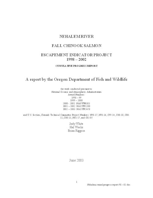 "This archived document is maintained by the Oregon State Library as part of the Oregon Documents Depository Program.  It is for informational purposes and may not be suitable for legal purposes., Title from PDF title page (viewed on Apr. 13, 2010), ""June 2003."", Includes bibliographical references (p. 44-46), National Oceanic and Atmospheric Administration, award numbers (1998-99) (1999-2000) (2000-2001): NA07FP0383 (2001-2002): NA17FP1280 (2002-2003): NA17FP2458, U.S. Section, Chinook Technical Committee N98-17 N98-16 C99-14 C00-10 C00-11 C00-13 N01-17 C02-05, Mode of access: Internet from the Oregon Government Publications Collection., Cumulative progress report; 1998-2002"