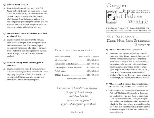 "This archived document is maintained by the Oregon State Library as part of the Oregon Documents Depository Program.  It is for informational purposes and may not be suitable for legal purposes., Title from PDF caption (viewed on Mar. 29, 2010), ""October 2003."", Mode of access: Internet from the Oregon Government Publications Collection."