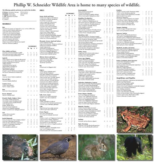 This archived document is maintained by the Oregon State Library as part of the Oregon Documents Depository Program.  It is for informational purposes and may not be suitable for legal purposes., Title from PDF caption (viewed on December 14, 2015)., Includes a list of mammals, birds and amphibians and reptiles which may be viewed in the wildlife area along with the seasons they may be viewed., Mode of access: Internet from the Oregon Government Publications Collection., Text in English.