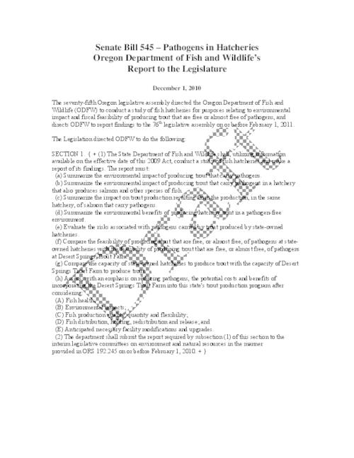 "This archived document is maintained by the Oregon State Library as part of the Oregon Documents Depository Program.  It is for informational purposes and may not be suitable for legal purposes., Title from PDF caption (viewed on May 6, 2011), ""December 1, 2010."", ""Draft""--Watermark, Mode of access: Internet from the Oregon Government Publications Collection."