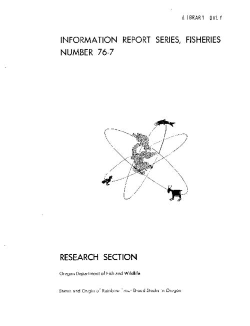 "This archived document is maintained by the Oregon State Library as part of the Oregon Documents Depository Program.  It is for informational purposes and may not be suitable for legal purposes., ""September 1976."", ""This work was partially funded by the U.S. Fish and Wildlife Service, through Dingell-Johnson Funds."", Mode of access: Internet from the Oregon Government Publications Collection."