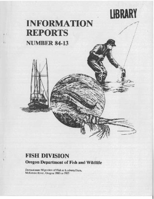 "This archived document is maintained by the Oregon State Library as part of the Oregon Documents Depository Program.  It is for informational purposes and may not be suitable for legal purposes., ""Cooperative study, Oregon Department of Fish and Wildlife, Research and Development Section, Corvallis, Oregon, and Eugene Water and Electric Board, Eugene, Oregon."", ""June 1984."", Bibliography: p. 13, Mode of access: Internet from the Oregon Government Publications Collection."