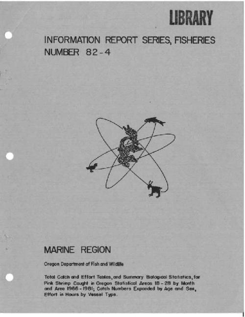 "This archived document is maintained by the Oregon State Library as part of the Oregon Documents Depository Program.  It is for informational purposes and may not be suitable for legal purposes., ""December 1982."", Includes bibliographical references (p. 9), Funds supplied in part by the Commercial Fisheries Research and Development Act of 1964 (PL 88-309) under Groundfish and Shrimp Assessment contract 80-ABD-ORAC, Mode of access: Internet from the Oregon Government Publications Collection."