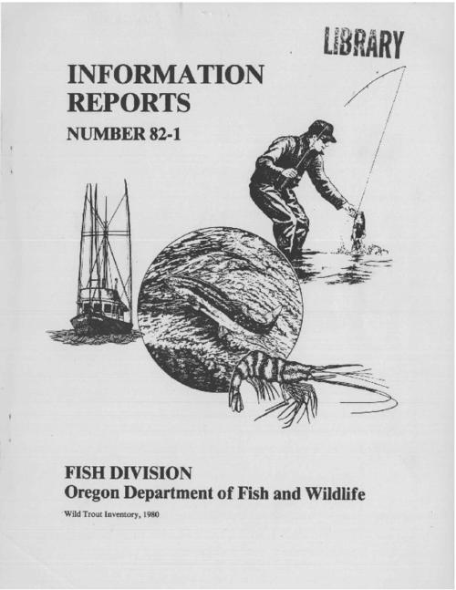 This archived document is maintained by the Oregon State Library as part of the Oregon Documents Depository Program.  It is for informational purposes and may not be suitable for legal purposes., Includes bibliographical references (p. 16), Partially funded by the U.S. Fish and Wildlife Service through Dingell-Johnson funds. Project F-99-R-4, Mode of access: Internet from the Oregon Government Publications Collection.