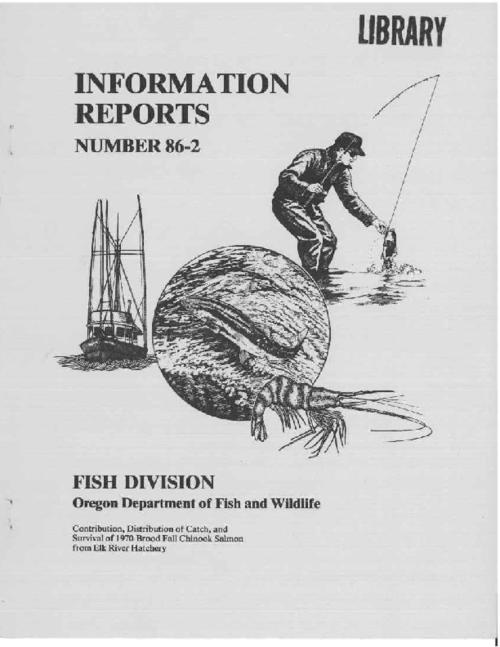 "This archived document is maintained by the Oregon State Library as part of the Oregon Documents Depository Program.  It is for informational purposes and may not be suitable for legal purposes., ""Oregon Department of Fish and Wildlife, Research and Development Section."", ""September 1986."", ""This work was conducted with matching state and federal Anadromous Fish Act (PL 89-304) funds administered by the National Marine Fisheries Service."", Bibliography: p. 19-22, Mode of access: Internet from the Oregon Government Publications Collection."