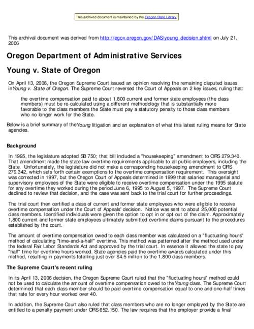 "This archived document is maintained by the Oregon State Library as part of the Oregon Documents Depository Program.  It is for informational purposes and may not be suitable for legal purposes., Title from Web page (viewed on Aug. 14, 2006), ""Last modified: [2006-07-18]""--File metadata, Mode of access: Internet from the Oregon Government Publications Collection."
