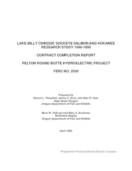 This archived document is maintained by the Oregon State Library as part of the Oregon Documents Depository Program.  It is for informational purposes and may not be suitable for legal purposes., Includes bibliographical references (pages 145-150), FERC 2030, Mode of access: Internet from the Oregon Government Publications Collection., Final report, 1996-1998