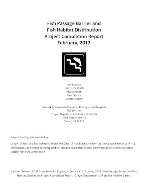 Fish Passage Barrier And Fish Habitat Distribution Project