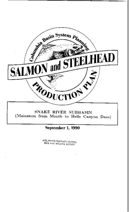 "This archived document is maintained by the Oregon State Library as part of the Oregon Documents Depository Program.  It is for informational purposes and may not be suitable for legal purposes., ""Co-writers: Confederated Tribes of the Umatilla Indian Reservation, Idaho Department of Fish and Game, Nez Perce Tribe of Idaho, Oregon Department of Fish and Wildlife, Shoshone-Bannock Tribes of Fort Hall, Washington Department of Wildlife."", ""Funds provided by the Northwest Power Planning Council and the Agencies and Indian tribes of the Columbia Basin Fish & Wildlife Authority."", ""September 1, 1990."", ""These reports are final salmon and steelhead production plans for subbasins in the Columbia River Basin""--Cover letter, Includes bibliographical references (p. 69-72), Mode of access: Internet from the Oregon Government Publications Collection."