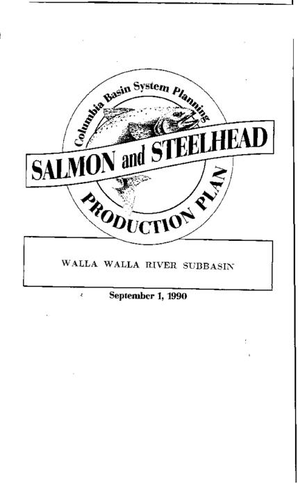 "This archived document is maintained by the Oregon State Library as part of the Oregon Documents Depository Program.  It is for informational purposes and may not be suitable for legal purposes., ""Co-writers: Oregon Department of Fish and Wildlife, Washington. Department of Fisheries, Washington Department of Wildlife."", ""Funds provided by the Northwest Power Planning Council and the Agencies and Indian tribes of the Columbia Basin Fish & Wildlife Authority."", ""September 1, 1990."", ""These reports are final salmon and steelhead production plans for subbasins in the Columbia River Basin""--Cover letter, Includes bibliographical references (p. 79-81), Mode of access: Internet from the Oregon Government Publications Collection."