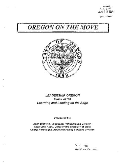 "This archived document is maintained by the Oregon State Library as part of the Oregon Documents Depository Program.  It is for informational purposes and may not be suitable for legal purposes., ""July 1994""--P. [1], Title from cover, Mode of access: Internet from the Oregon Government Publications Collection."