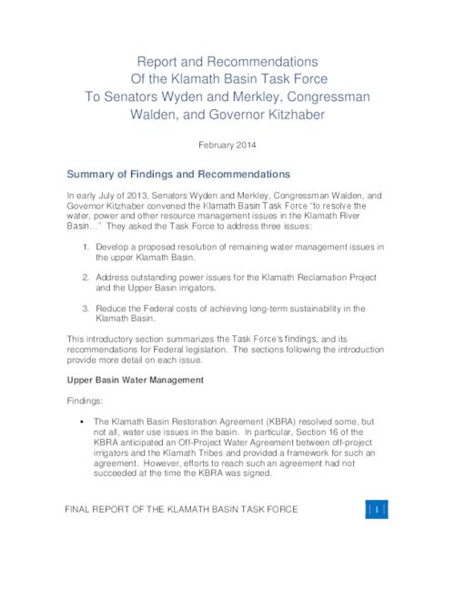 Report And Recommendations From The Klamath Basin Task Force To