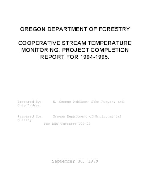 "This archived document is maintained by the Oregon State Library as part of the Oregon Documents Depository Program.  It is for informational purposes and may not be suitable for legal purposes., Title from PDF title page (viewed on June 20, 2011), ""September 30, 1999."", FPMP technical report  #2, Includes bibliographical references (p. 27-28), 003-95, Mode of access: Internet from the Oregon Government Publications Collection."