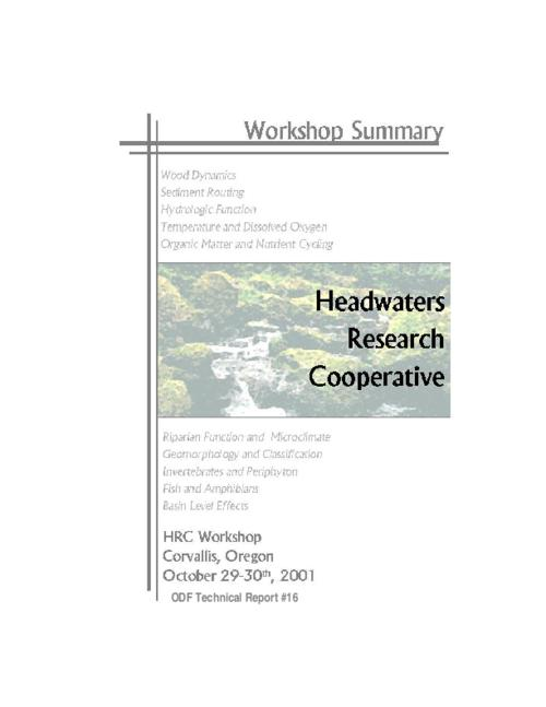"This archived document is maintained by the Oregon State Library as part of the Oregon Documents Depository Program.  It is for informational purposes and may not be suitable for legal purposes., Title from PDF title page (viewed on Apr. 8, 2010), ""HRC Workshop, Corvallis, Oregon, October 29-30th, 2001."", Includes bibliographical references, Mode of access: Internet from the Oregon Government Publications Collection."