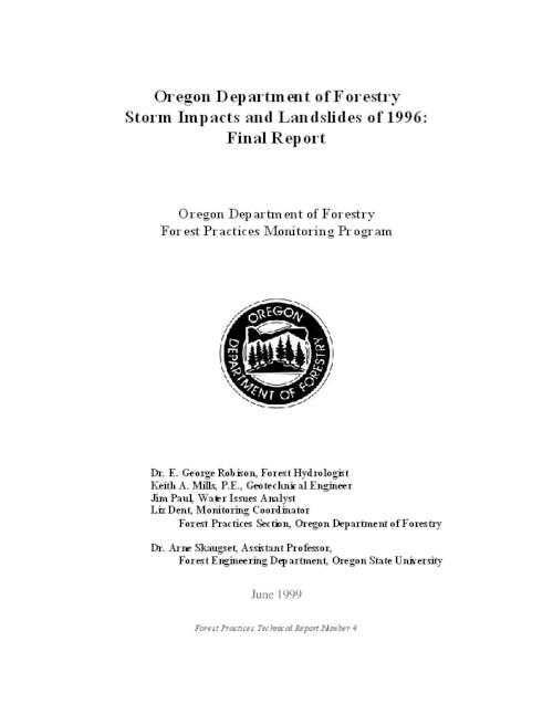 "This archived document is maintained by the Oregon State Library as part of the Oregon Documents Depository Program.  It is for informational purposes and may not be suitable for legal purposes., Cover title, At head of title: Oregon Department of Forestry, ""Oregon Department of Forestry, Forest Practices Monitoring Program."", ""June 1999."", Includes bibliographical references (p. 111-117), Mode of access: Internet from the Oregon Government Publications Collection."