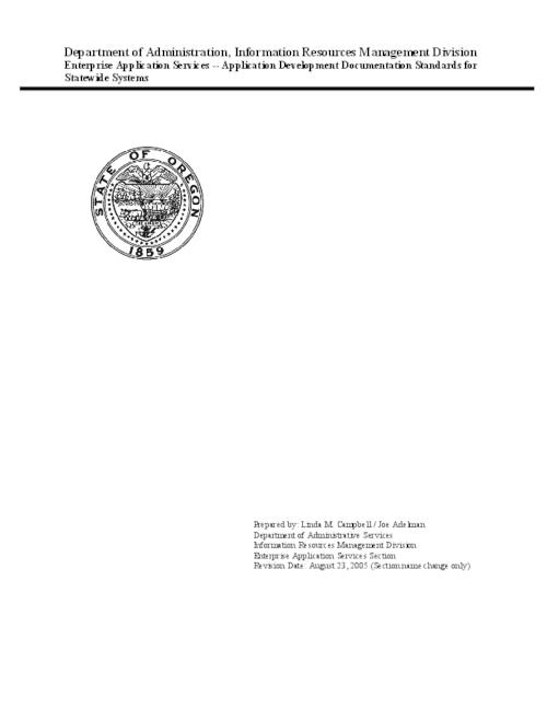 "This archived document is maintained by the Oregon State Library as part of the Oregon Documents Depository Program.  It is for informational purposes and may not be suitable for legal purposes., Title from PDF title page (viewed on Oct. 25, 2006), ""Revision date: August 23, 2005 (Section name change only)."", Mode of access: Internet from the Oregon Government Publications Collection."
