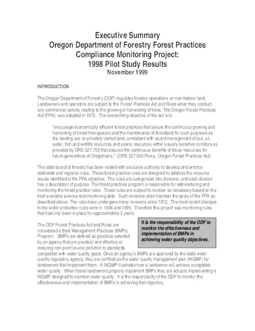 Executive summary, Oregon Department of Forestry Forest Practices ...