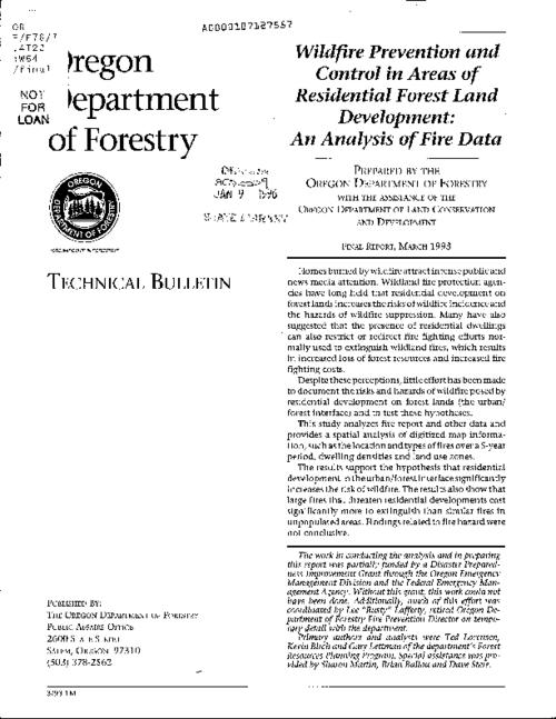 "This archived document is maintained by the Oregon State Library as part of the Oregon Documents Depository Program.  It is for informational purposes and may not be suitable for legal purposes., ""Final report, March 1993."", Title from caption, Mode of access: Internet from the Oregon Government Publications Collection."