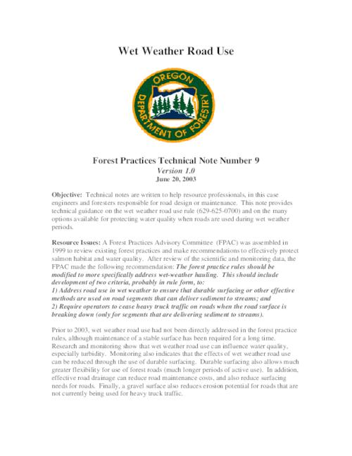 "This archived document is maintained by the Oregon State Library as part of the Oregon Documents Depository Program.  It is for informational purposes and may not be suitable for legal purposes., Title from PDF caption (viewed on Mar. 26, 2013), ""June 20, 2003."", Includes bibliographical references (p. 11), Mode of access: Internet from the Oregon Government Publications Collection."