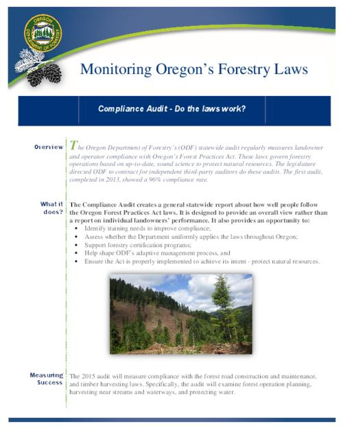 "This archived document is maintained by the Oregon State Library as part of the Oregon Documents Depository Program.  It is for informational purposes and may not be suitable for legal purposes., Title from PDF caption (viewed on February 22, 2016)., ""The Oregon Department of Forestry's (ODF) statewide audit regularly measures landowner and operator compliance with Oregon's Forest Practices Act....The legislature directed ODF to contract for independent third-party auditors do these audits""--Page 1., Mode of access: Internet from the Oregon Government Publications Collection., Text in English."