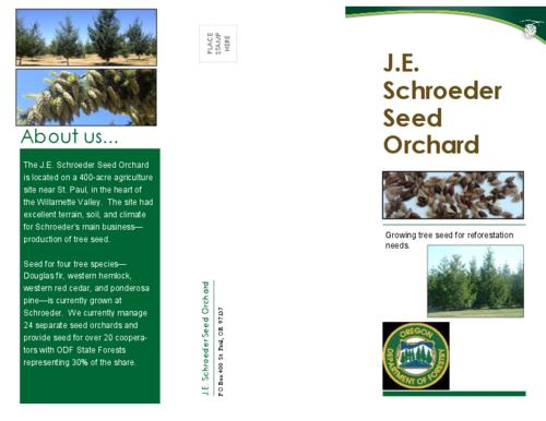 This archived document is maintained by the Oregon State Library as part of the Oregon Documents Depository Program.  It is for informational purposes and may not be suitable for legal purposes., Title from PDF caption (viewed on November 19, 2015)., Schroeder Seed Orchard is a cooperative owned and managed by the Oregon Department of Forestry for its stake-holders including State Forest districts, timber companies, and Family Forest Landowners., Mode of access: Internet from the Oregon Government Publications Collection., Text in English.