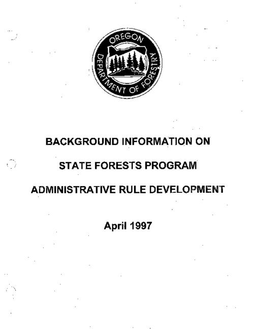 "This archived document is maintained by the Oregon State Library as part of the Oregon Documents Depository Program.  It is for informational purposes and may not be suitable for legal purposes., Title from cover., ""This notebook features a working draft of these administrative rules and a collection of material designed to provide legal, policy and historical insight into management of the lands and into the process of drafting the rules themselves""--from Summary., Includes ""Oregon Board of Forestry forest lands : an historical overview of the establishment of state forest lands"" (1995) attributed to Charles Landman, a paralegal at the Oregon Department of Justice., Includes a copy of Oregon Revised Statutes, Chapter 530, 1995 edition., Includes bibliographic references., Mode of access: Internet from the Oregon Government Publications Collection., Text in English."