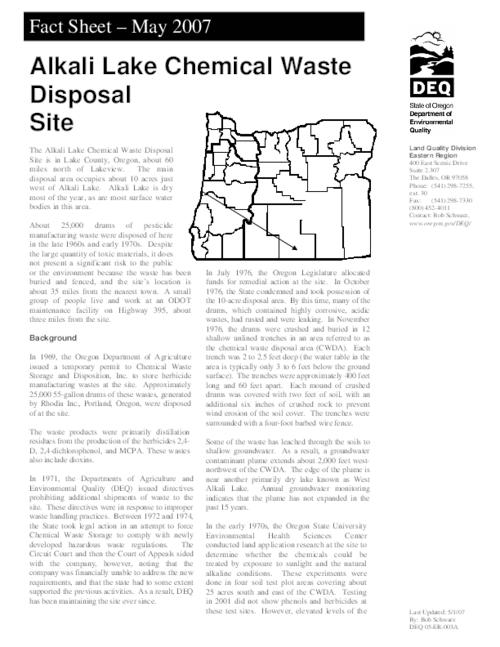 "This archived document is maintained by the Oregon State Library as part of the Oregon Documents Depository Program.  It is for informational purposes and may not be suitable for legal purposes., Title from PDF caption (viewed on July 13, 2010), ""May 2007."", ""DEQ 05-ER-003A."", Mode of access: Internet from the Oregon Government Publications Collection."