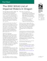 The  2002 303(d) list of impaired waters in Oregon, List of impaired waters...