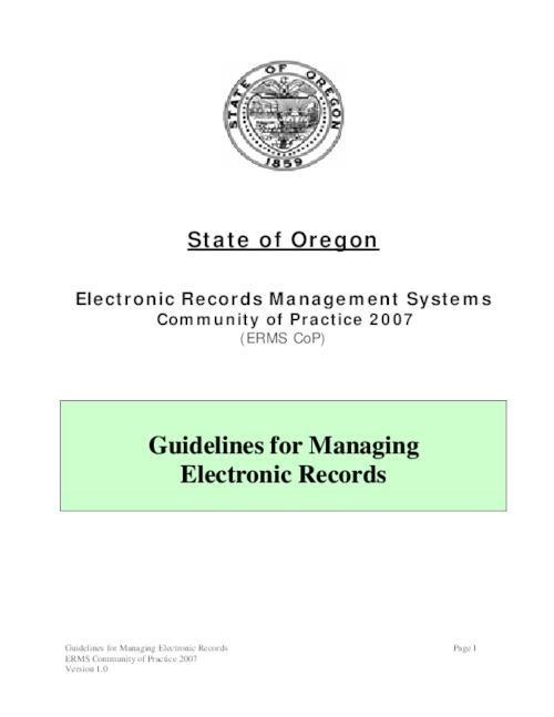 This archived document is maintained by the Oregon State Library as part of the Oregon Documents Depository Program.  It is for informational purposes and may not be suitable for legal purposes., Title from PDF title page (viewed on Mar. 25, 2010), Mode of access: Internet from the Oregon Government Publications Collection.