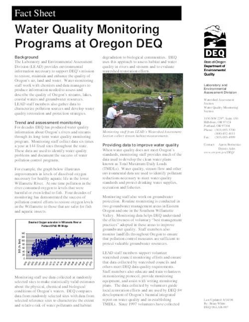 "This archived document is maintained by the Oregon State Library as part of the Oregon Documents Depository Program.  It is for informational purposes and may not be suitable for legal purposes., Title from PDF caption (viewed on March 6, 2014), ""Last Updated: 8/14/08."", ""DEQ 08-LAB-007."", Mode of access: Internet from the Oregon Government Publications Collection."