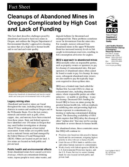 "This archived document is maintained by the Oregon State Library as part of the Oregon Documents Depository Program.  It is for informational purposes and may not be suitable for legal purposes., Title from PDF caption (viewed on August 19, 2015)., ""12-LQ-032."", Discusses the Orphan Site Account and efforts to clean up the Bonanza, Golconda and Opalite mine sites., Mode of access: Internet from the Oregon Government Publications Collection., Text in English."