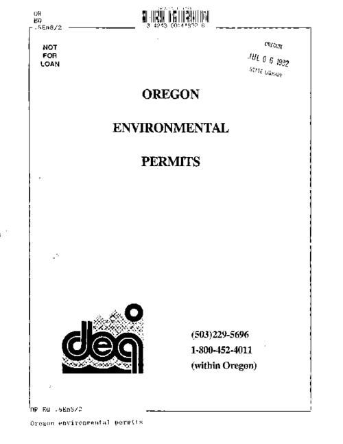"This archived document is maintained by the Oregon State Library as part of the Oregon Documents Depository Program.  It is for informational purposes and may not be suitable for legal purposes., ""9/25/89""--Leaf 1, Title from cover, Mode of access: Internet from the Oregon Government Publications Collection."