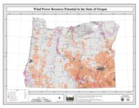 Wind power resource potential in the state of Oregon
