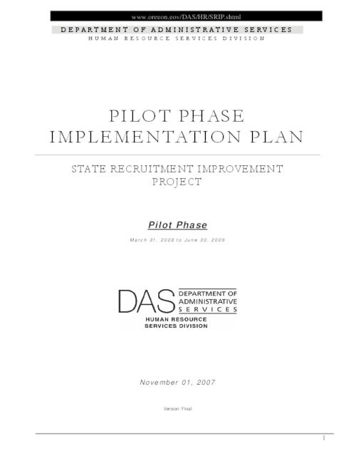 "This archived document is maintained by the Oregon State Library as part of the Oregon Documents Depository Program.  It is for informational purposes and may not be suitable for legal purposes., Title from PDF title page (viewed on June 11, 2009), Converted from Word, ""Pilot phase, March 31, 2008 to June 30, 2009."", ""November 01, 2007."", ""Version: final."", Mode of access: Internet from the Oregon Government Publications Collection."