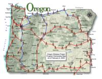 Oregon wireless project program partnership map as of February 6, 2009, Wireless...