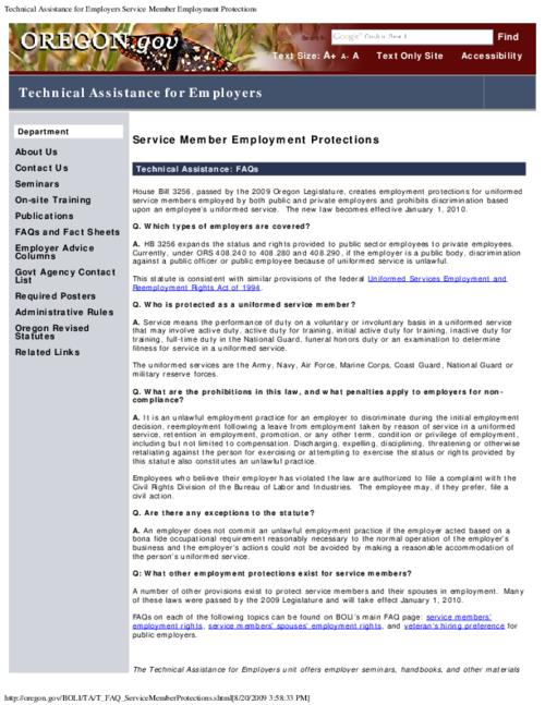 This archived document is maintained by the Oregon State Library as part of the Oregon Documents Depository Program.  It is for informational purposes and may not be suitable for legal purposes., Title from PDF caption (viewed on September 11, 2015)., Converted from HTML., Explains House Bill 3256 (2009) which creates employment protections for uniformed service members employed by both public and private employers and prohibits discrimination based upon an employee's uniformed service., Mode of access: Internet from the Oregon Government Publications Collection., Text in English.