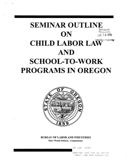 "This archived document is maintained by the Oregon State Library as part of the Oregon Documents Depository Program.  It is for informational purposes and may not be suitable for legal purposes., ""7/94""--P. 1, Title from cover, Mode of access: Internet from the Oregon Government Publications Collection."