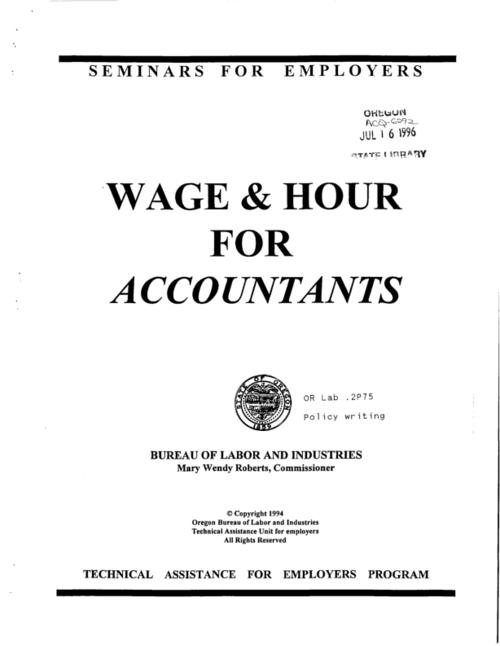 "This archived document is maintained by the Oregon State Library as part of the Oregon Documents Depository Program.  It is for informational purposes and may not be suitable for legal purposes., ""Seminars for employers."", Title from cover, Mode of access: Internet from the Oregon Government Publications Collection."