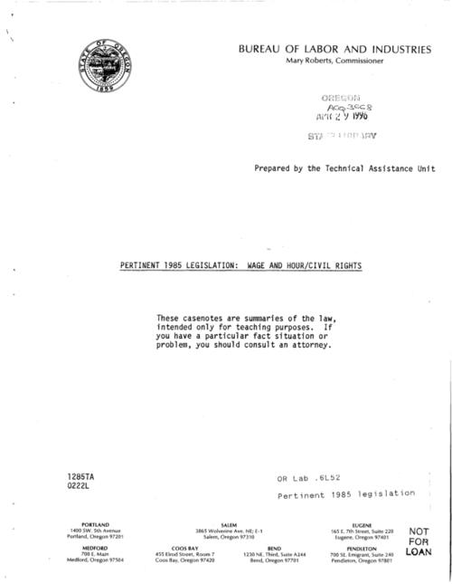 "This archived document is maintained by the Oregon State Library as part of the Oregon Documents Depository Program.  It is for informational purposes and may not be suitable for legal purposes., ""1285TA."", Title from cover, Mode of access: Internet from the Oregon Government Publications Collection."