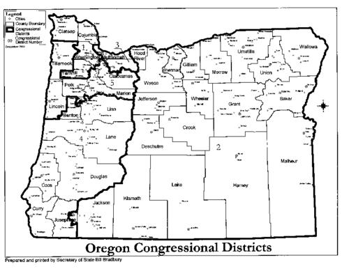 Oregon Congressional Districts Oregon State Library - Us house districts oregon map